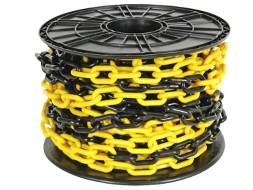 -Plastic chain 8mm yellow/ black on reel - 25m