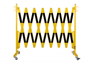 Safety gate with roller feet 4 m, yellow / black