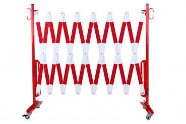 Safety gate with roller feet 4 m, red / white