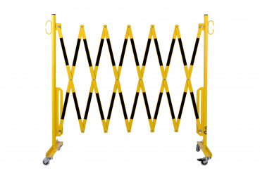 Safety gate with roller feet 3.6 m, yellow / black
