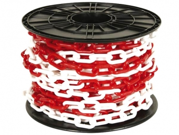 Plastic chain 8mm white/ red on reel 25 m