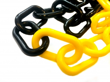 Plastic chain yellow/ black 10 mm