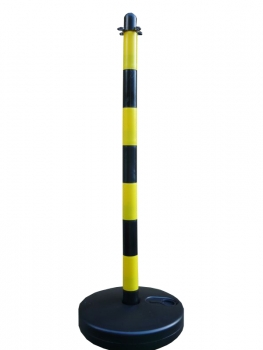 Chain post 900 mm, plastic base round, yellow / black