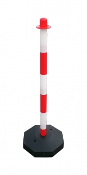 Chain post 900 mm, plastic base, white / red