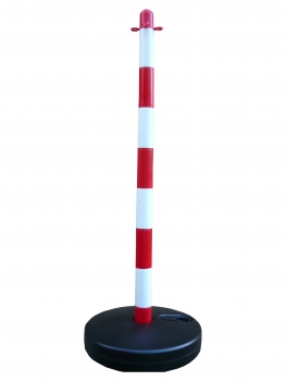 Chain post 900 mm, plastic base round, white / red
