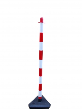 Chain post 1100 mm, concrete base, white / red