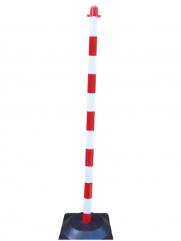 Chain post 1300 mm, recycling foot, white / red