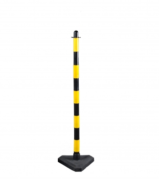 Chain post 1100 mm, concrete base, yellow / black