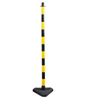 Chain post 1300 mm, concrete base, yellow / black