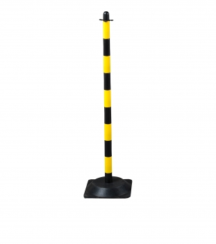 Chain post 1100 mm, recycling foot, yellow / black