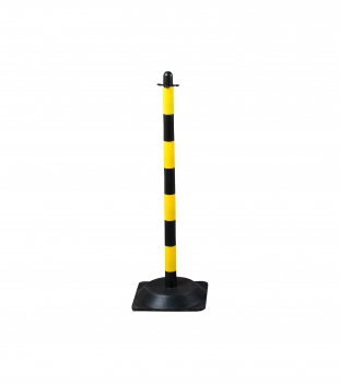 Chain post 900 mm, recycling foot, yellow / black