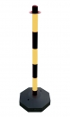 Chain post 900 mm, plastic base, yellow / black